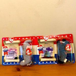 2 McDonalds Ty Beanie Babies -one Lefty the Donkey & one Righty the Elephant NIB